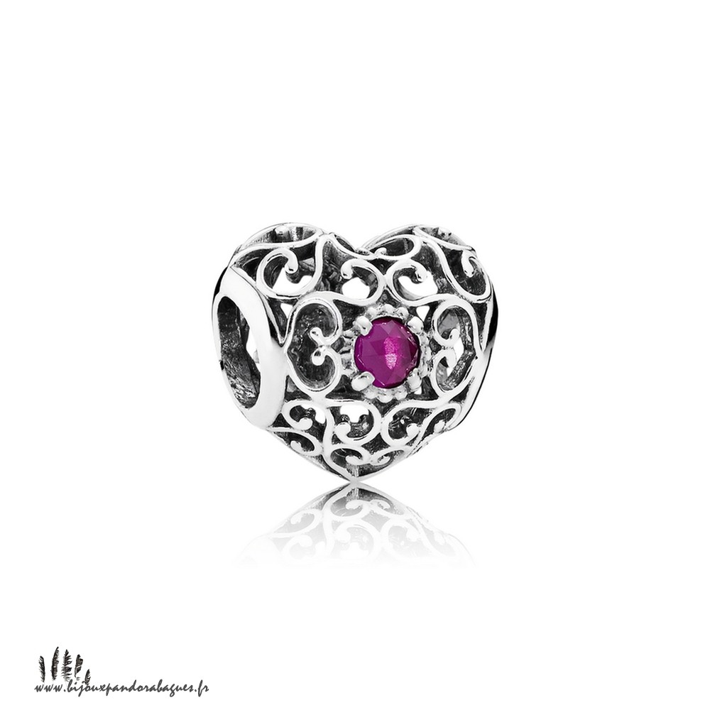 Acheter Marque Pandora Juillet Signeature Coeur Charme Synthetic Ruby Prix