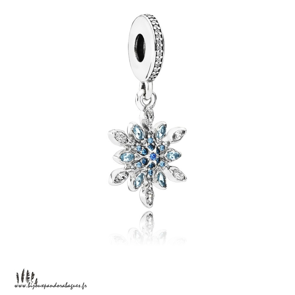 Acheter Marque Pandora Pandora Nature Charms Crystalized Snowflake Dangle Charm Blue Crystals Clear Cz